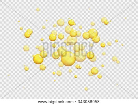 Gold Oil Bubbles. Vector Blink Collagen Capsules.vector 3d Realistic Bead Of Epoxy Artificial Amber,