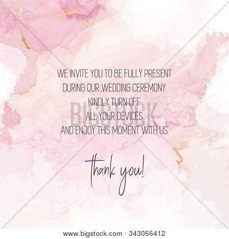 Blush Pink Watercolor Fluid Painting Vector Design Card. Dusty Rose And Golden Marble Geode Frame. S
