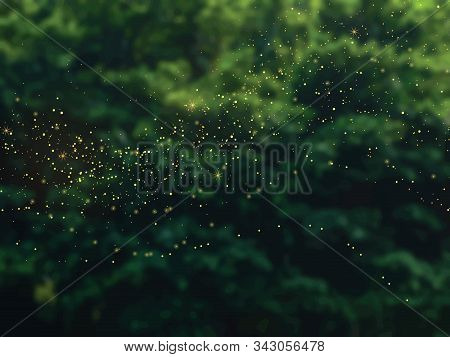 Emerald Greenery Forest Foliage Vector Background. Green Garden Trees Blurred. Summer Leaves Unfocus