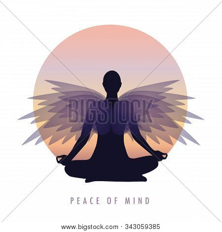 Peace Of Mind Person In Meditation Pose With Wings Vector Illustration Eps10