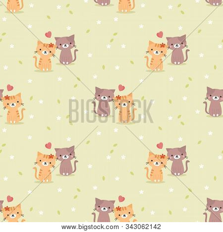 Cute Couple Cat And Heart Seamless Pattern. Cute Animal In Valentine Concept.