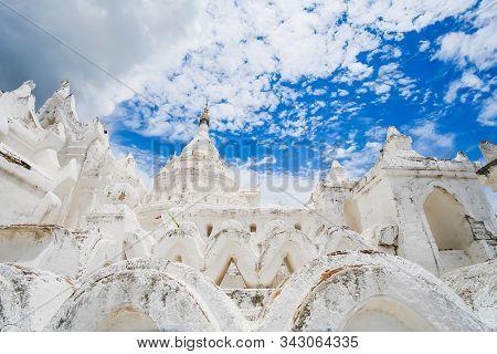 Beautiful Hsinbyume Pagoda (mya Thein Dan) Or Called Taj Mahal Of Irrawaddy River, Is A Large White