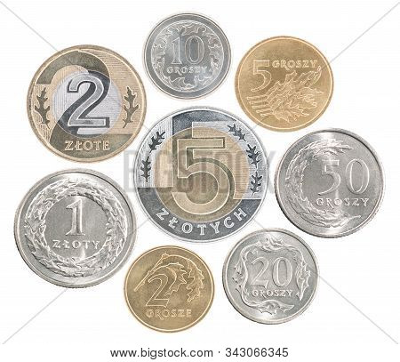 A Full Set Of Poland Coins In A Heap And Isolated On A White Background