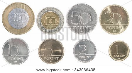 Complete Set Of Hungarian Coins In A Row Isolated On White Background.