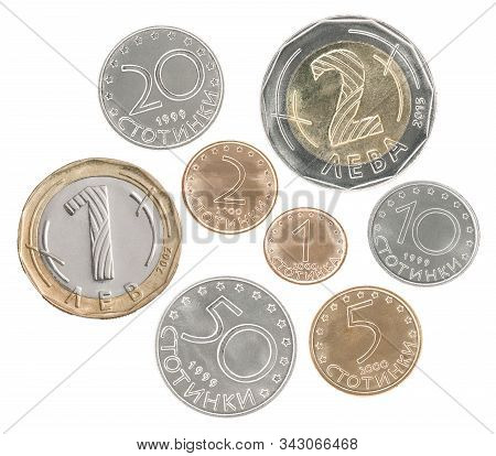 A Full Set Of Bulgarian Coins In A Heap And Isolated On A White Background