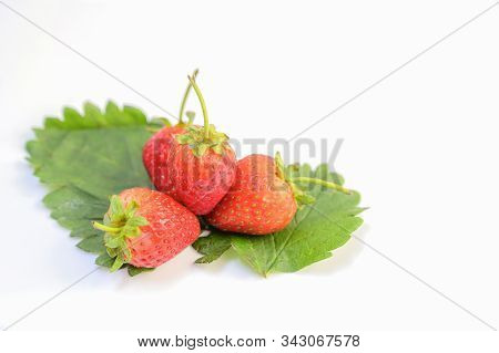 Strawberry Fruit And Green Leaves Isolated On White Background