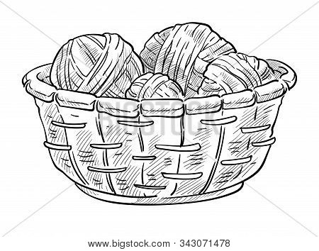 Knitting Items, Woolen Thread Balls In Basket Isolated Sketch Icon
