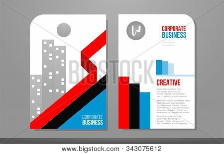 Red Blue Black Business Brochure Design Template Or Flyer Poster Layout Template. Suitable As Corpor