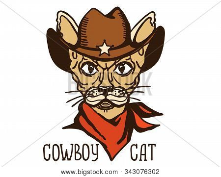 Cat Cowboy With Western Cowboy Hat And Red Bandanna. Vector Printable Cat Animal Handdrawn Color Ill