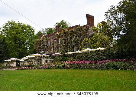 Ticehurst, East Sussex, England - May 18, 2019: The Georgian Rear Facade Of Pashley Manor East Susse