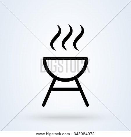 Roaster Bbq Line. Simple Vector Modern Icon Design Illustration.