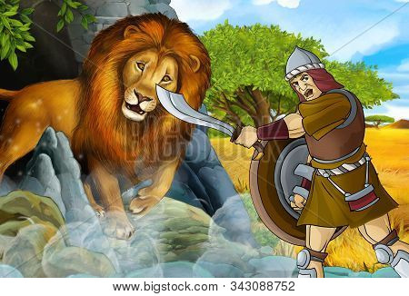 Cartoon Scene With Greek Or Roman Warrior Or Philosopher Fighting Nemean Lion - Illustration For Chi