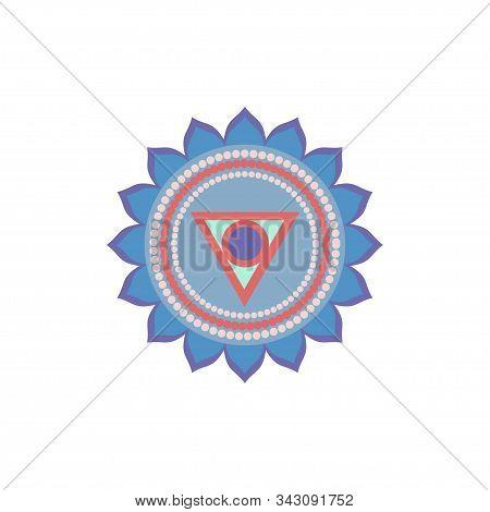 Vishuddha.throat Chakra. Symbol Of The Fifth Human Chakra. Vector Illustration Isolated On White Bac