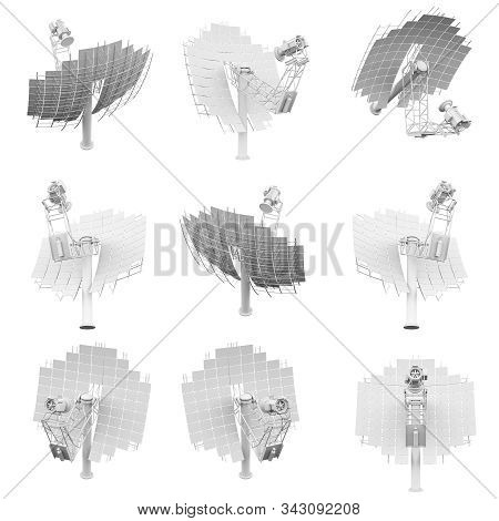 Satellite Antenna Isolated On The White Background 3d Rendering
