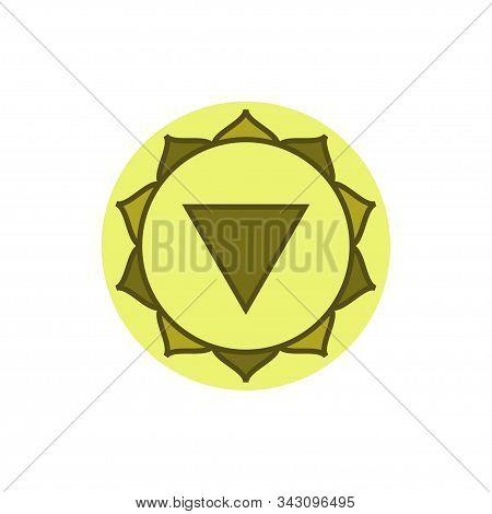 Manipura. Solar Plexus Chakra. Third Chakra Symbol Of Human. Vector Illustration Isolated On White B