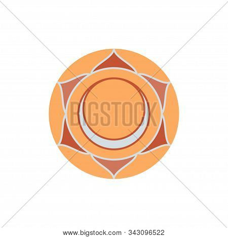 Swadhisthana.sacral Chakra. The Symbol Of The Second Human Chakra.vector Illustration Isolated On Wh