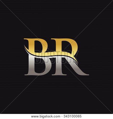 Initial Gold And Silver Letter Br Logo Design With Black Background. Br Logo Design.