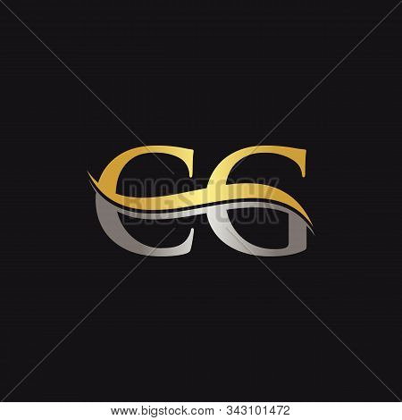 Initial Gold And Silver Letter Cg Logo Design With Black Background. Cg Logo Design.