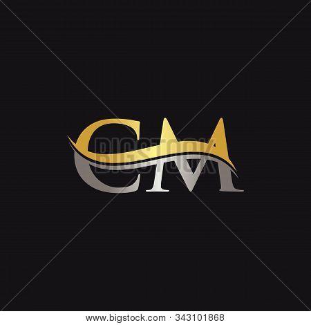 Initial Gold And Silver Letter Cm Logo Design With Black Background. Cm Logo Design.