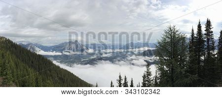 Panoramic View Of Banff National Park In The Canadian Rockies At The Top Of The Banff Gondola
