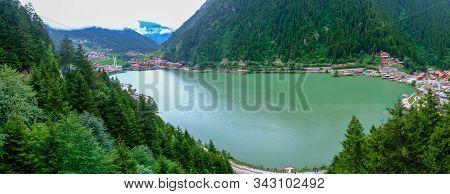 Panaroma Of Lake Uzungol At Trabzon In Turkey