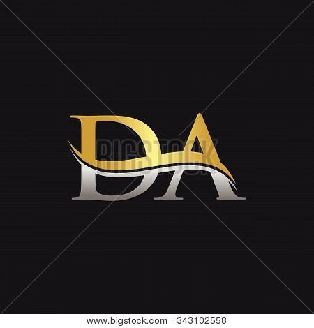 Initial Gold And Silver Letter Da Logo Design With Black Background. Da Logo Design