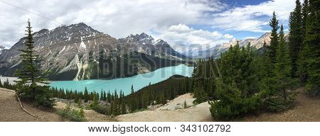Panorama Of Turquoise Peyto Lake In The Canadian Rockies Surrounded By Mountains; Landscape
