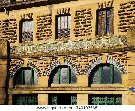 San Sebastian, Spain - December 30, 2019. Principal Facade Of The Station Of The Funicular, The Tour