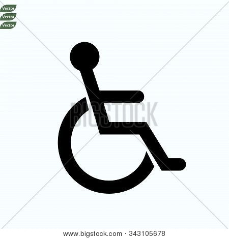 Wheelchair, Handicapped, Disabled Handicap Or Accessibility Parking Or Access Sign Symbol Flat Vecto