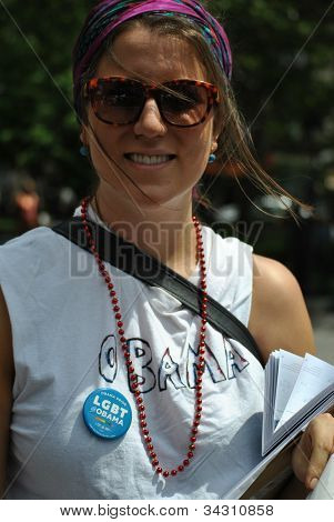 obama supporter at gay pride march