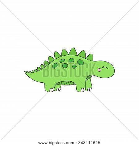 Prehistoric Dinosaur Vector Illustration. Hand Drawn Stegosaurus Dinosaur. Isolated.