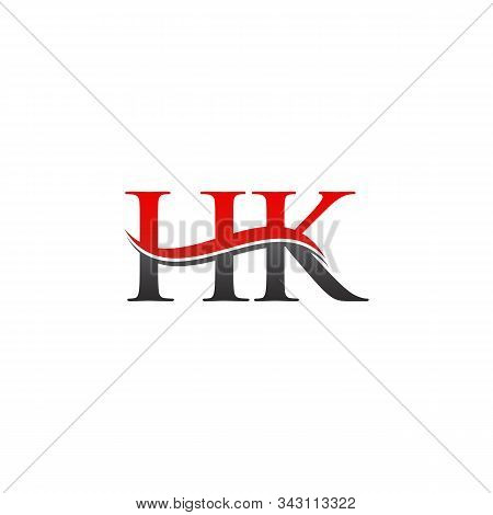 Initial Gold And Silver Letter Hk Logo Design With Black Background. Abstract Letter Hk Logo Design
