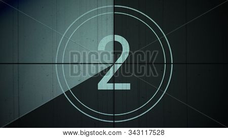 Film Vintage Countdown Number 2 . Movie Film Strip With Countdown Number On Grunge Background. 2d An