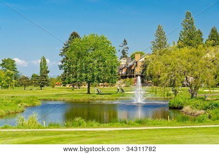 Golf place with gorgeous green, pond and row of houses on background.