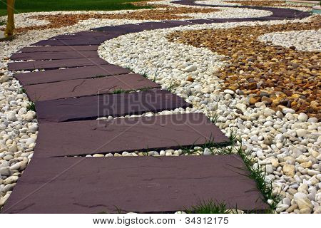 Red Stone Paved Roads In The Park