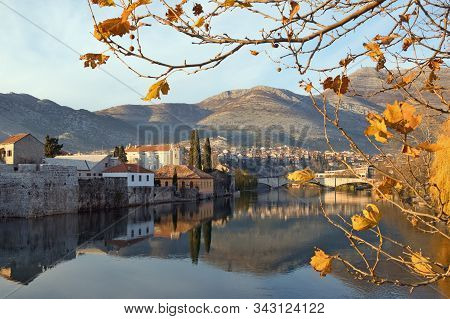 View Of City Of Trebinje And Trebisnica River On A Sunny Day In December. Bosnia And Herzegovina, Re