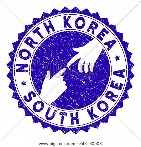 Connecting North Korea South Korea Stamp. Blue Vector Rounded Textured Stamp Imprint With Connecting