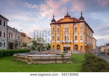 Banska Bystrica, Slovakia - May 02, 2019: Historical Building Called Hungaria In City Centre Of Bans