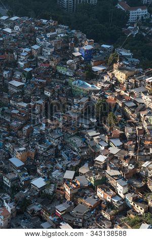 An Aerial View Looking Down On The Rocinha Favela, Rio De Janeiro, Brazil, From Dois Irmaos Mountain