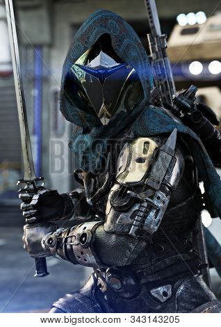 Space Hunter, Science Fictional Armored Marine Posing With Multiple Weapons And Sword In Hand. 3d Re