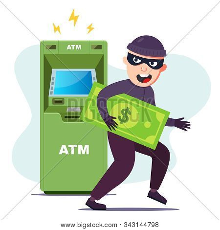 The Thief Stole Money From An Atm. Hacking The Terminal To Steal. Flat Character Vector Illustration