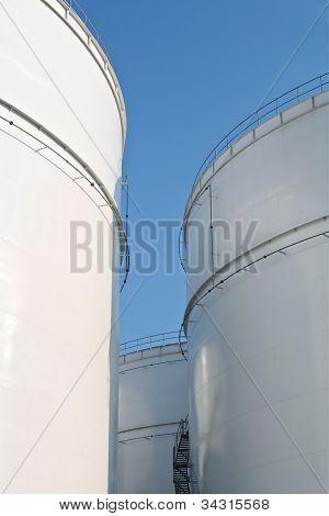 White tall oil storage tanks