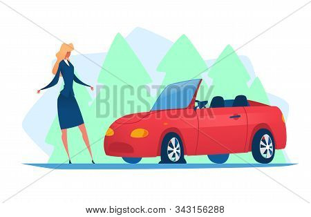 Businesswoman Is Standing Next To A Broken Car. Vector Illustration With A Red Car On The Road With