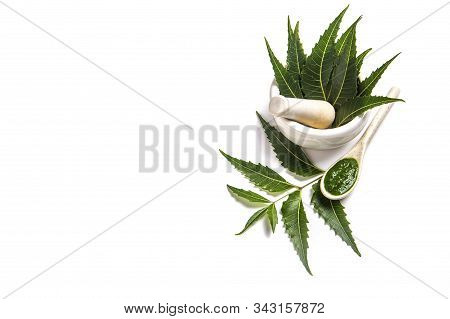 Medicinal Neem Leaves In Mortar And Pestle With Neem Paste On White Background