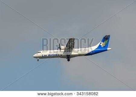 Bangkok, Thailand - Apr 21, 2018. Rdpl-34174 Lao Airlines Atr 72-500 Landing At Suvarnabhumi Airport