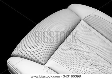 Modern Luxury Car White Leather Interior. Part Of Perforated Leather Car Seat Details. White Perfora