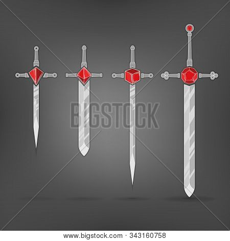 Set Of Cartoon Vector Weapon, Swords With Dices Hilt Rpg Games.  Red Crystal D4,d6,d8,d12 Dices, Cla