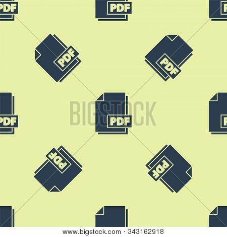 Blue Pdf File Document. Download Pdf Button Icon Isolated Seamless Pattern On Yellow Background. Pdf