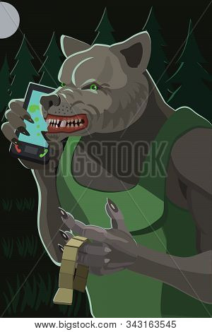 Wolf Angry Talking On A Mobile Phone In The Woods At Night, In The Hands Of Twirling A Rosary Make A