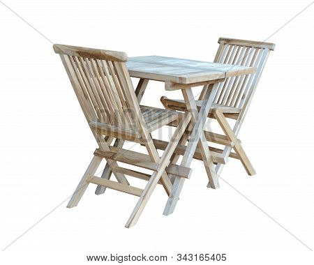 Set Of Folding Wooden Furniture For The Garden Or Kitchen, Isolated On A White Background.
